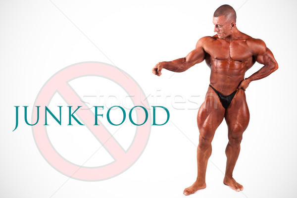 Stock photo: No junk food, bodybuilder