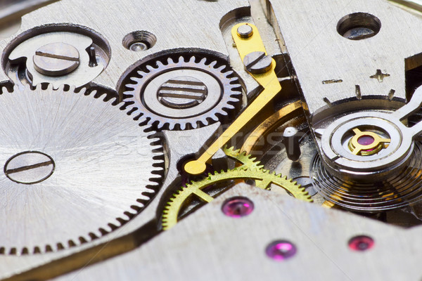 Ancient tiny metal clockwork close up Stock photo © pzaxe