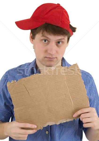 Férfi piros baseballsapka tabletta karton kezek Stock fotó © pzaxe