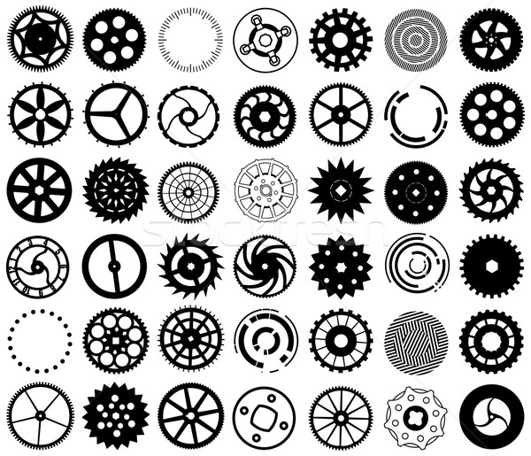 Vector set of silhouettes of gears and other round objects Stock photo © pzaxe