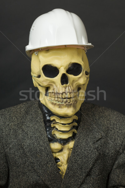 Terrible dude in mask of skeleton with helmet Stock photo © pzaxe
