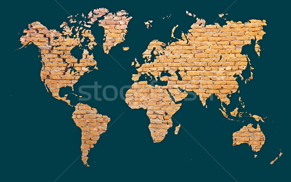 World map with continents made of brick Stock photo © pzaxe