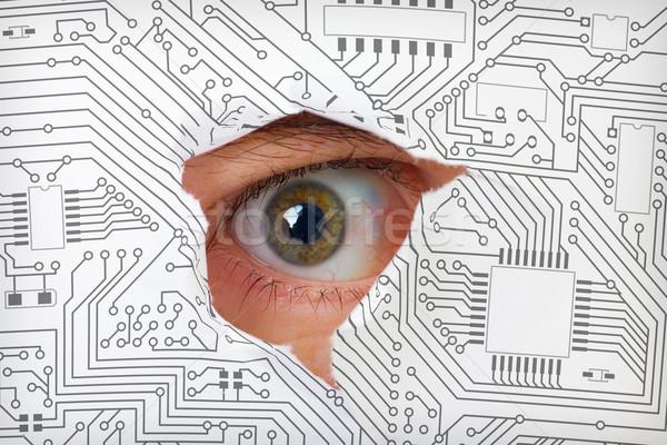 Olho olhando buraco eletrônico circuito humanismo Foto stock © pzaxe