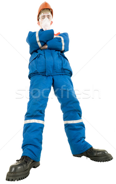 Labourer on the helmet and respirator Stock photo © pzaxe