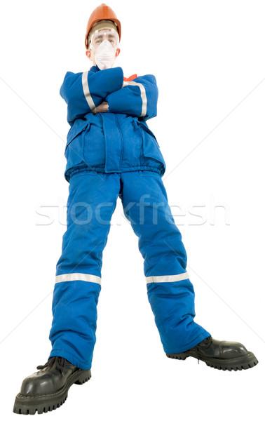 Arbeider helm man achtergrond werknemer veiligheid Stockfoto © pzaxe