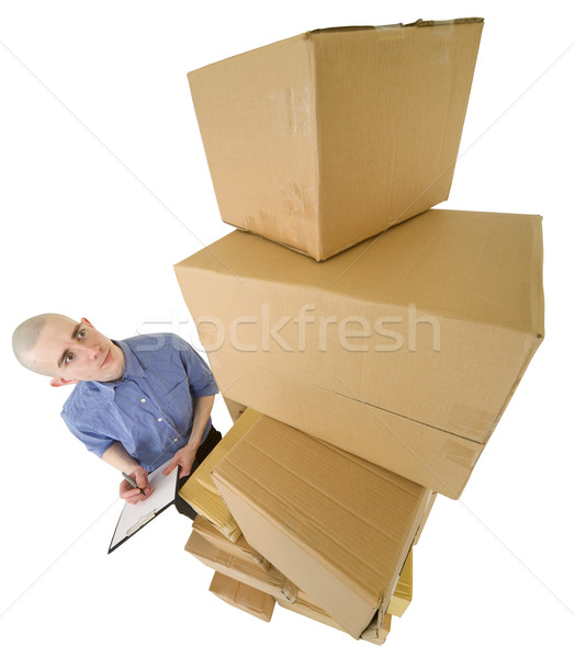 Messenger and cardboard boxes and tablet Stock photo © pzaxe