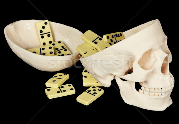 Human skull filled with dominoes Stock photo © pzaxe
