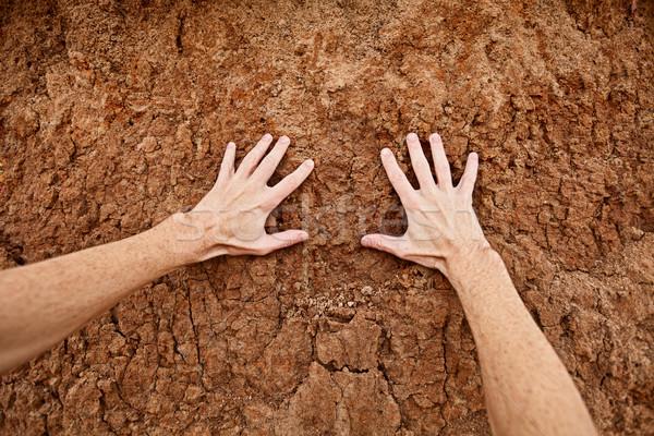 Zorg aarde handen touch drogen klei Stockfoto © pzaxe
