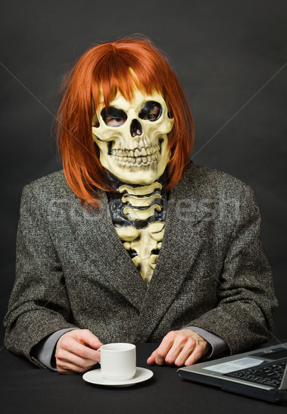 Horrible man - skeleton with red hair drinking coffee Stock photo © pzaxe