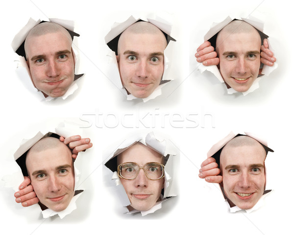 Six faces looking through holes Stock photo © pzaxe