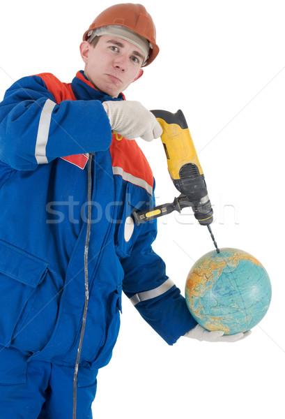 Mano trapano mondo casco bianco uomo Foto d'archivio © pzaxe