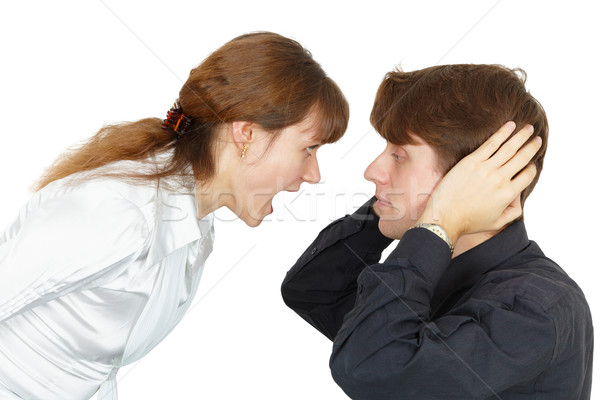 Man does not want to listen cries of women Stock photo © pzaxe