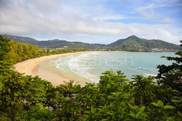 Tropikal okyanus plaj Tayland phuket ağaç Stok fotoğraf © pzaxe