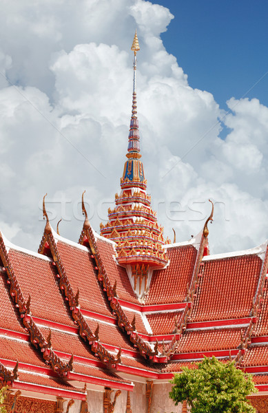 Roofing Buddhist monastery Stock photo © pzaxe