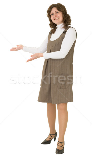 Young woman to be invite gesture Stock photo © pzaxe
