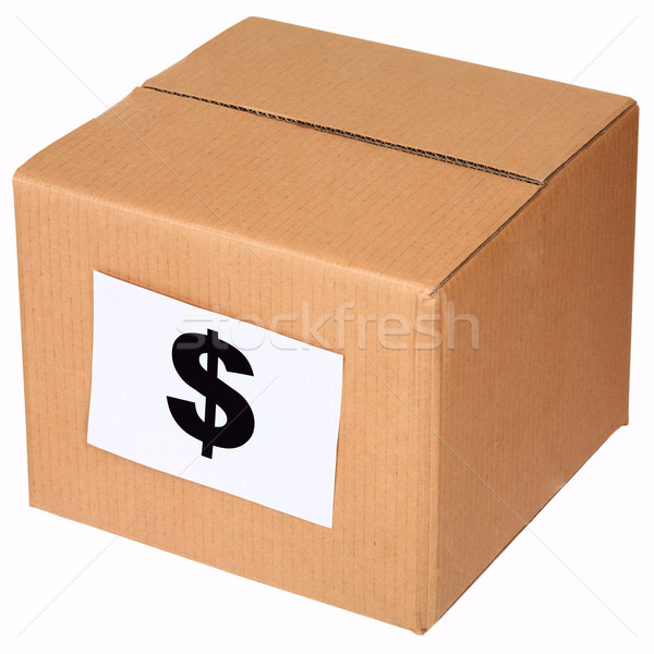 Carton box and sign of the dollar Stock photo © pzaxe