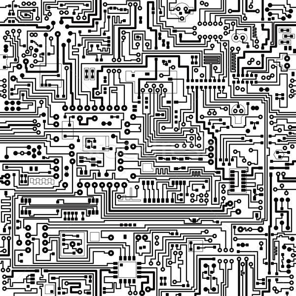 Foto stock: Vetor · sem · costura · textura · eletrônico · componentes