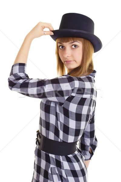 Young woman with black hat Stock photo © pzaxe
