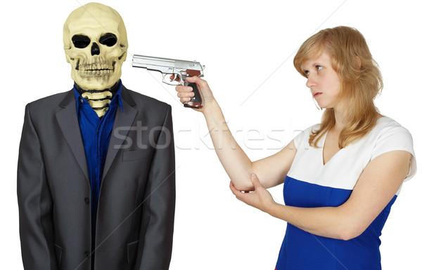 Nő pisztoly személy csontváz fiatal nő lány Stock fotó © pzaxe