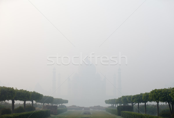 India, Agra, Taj Mahal in thick fog Stock photo © pzaxe