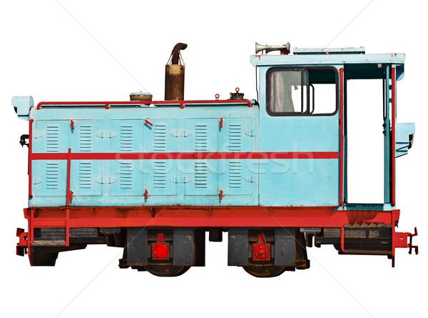 Vintage locomotiva ferrovia isolato bianco auto Foto d'archivio © pzaxe