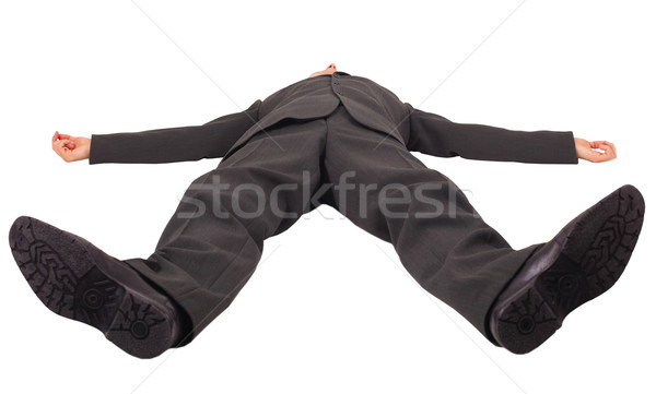 Man lies legs forward isolated on white Stock photo © pzaxe