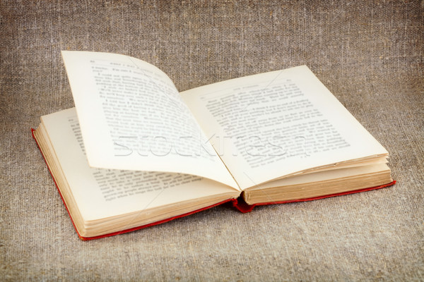 Open old book on canvas background Stock photo © pzaxe