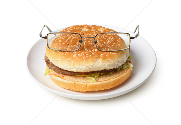 забавный гамбургер очки изолированный белый пластина Сток-фото © pzaxe
