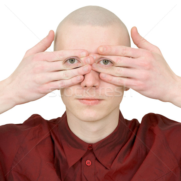 Person looks covered eyes palms Stock photo © pzaxe