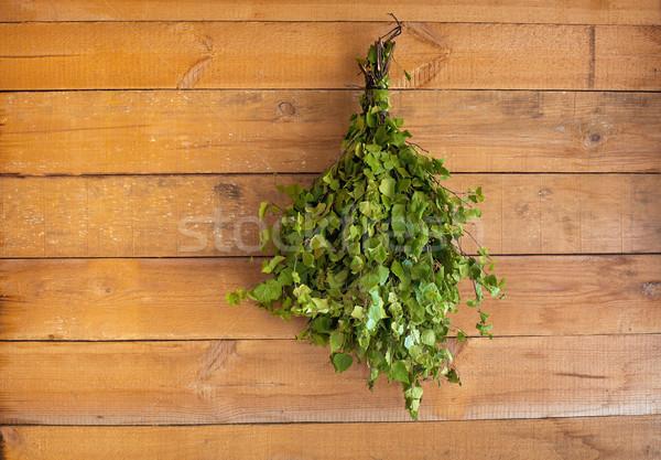 Nyírfa seprű fürdőkád fából készült fal vidék Stock fotó © pzaxe