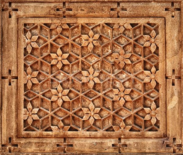 Floral ornement mur de pierre Inde orange calcaire Photo stock © pzaxe