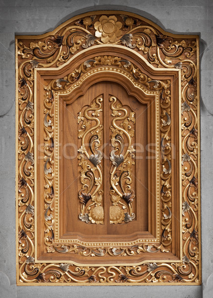 Decorated vintage wooden window. Indonesia. Stock photo © pzaxe