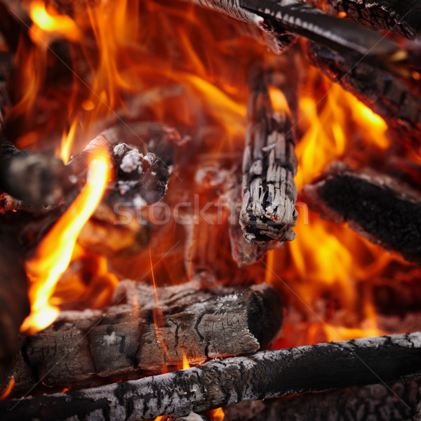 Wood burning in the fire background Stock photo © pzaxe