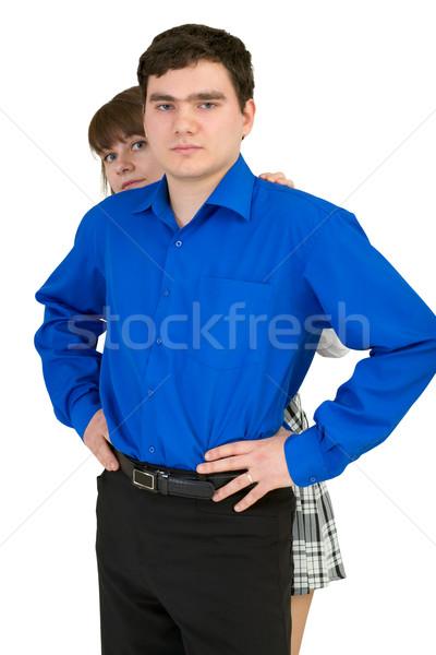Fiatalember nő gyenge fehér lány férfi Stock fotó © pzaxe