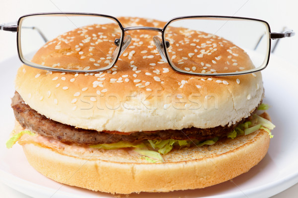 Jolly clever sandwich with glasses Stock photo © pzaxe