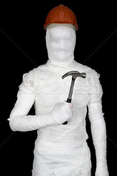 Casco martello nero divertimento bianco persona Foto d'archivio © pzaxe