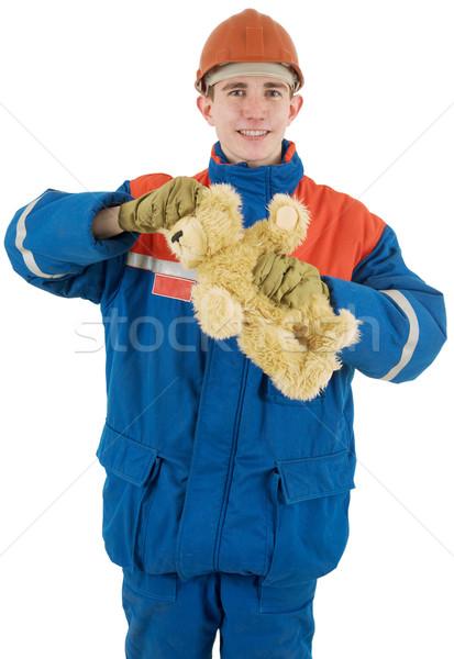 рабочий несут шлема белый человека синий Сток-фото © pzaxe
