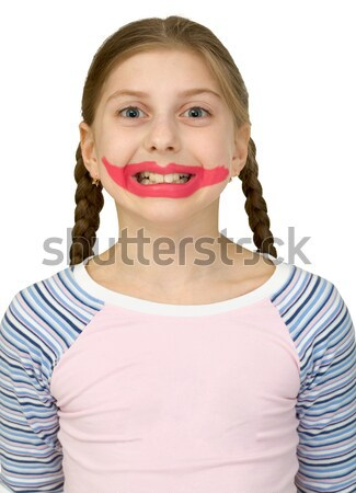Stock photo: Girl with clown smile
