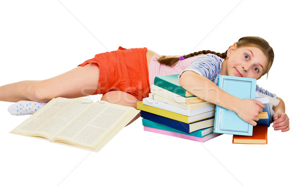 Girl and books Stock photo © pzaxe