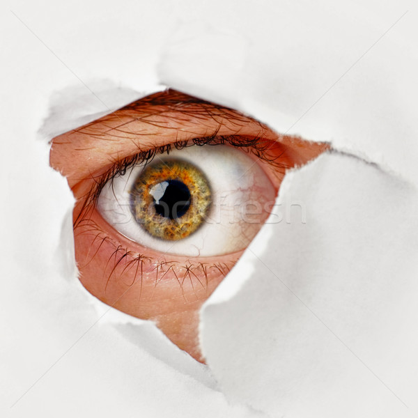 Oeil trou papier espion homme Photo stock © pzaxe