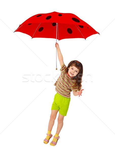 Сток-фото: девочку · Flying · красный · зонтик · Коровка · изолированный