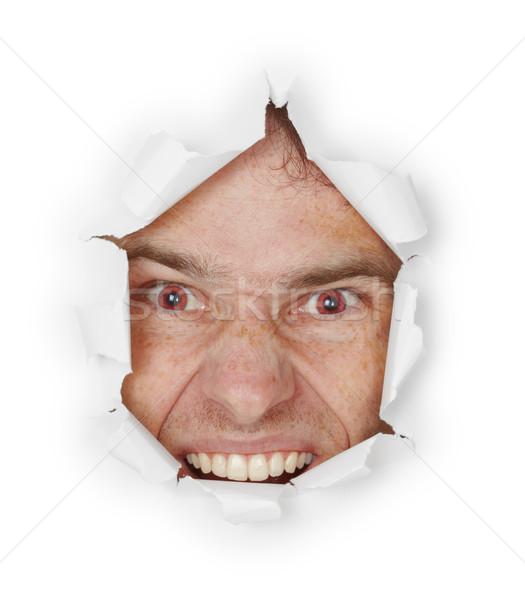 Hevig kwaad man gat papier Stockfoto © pzaxe