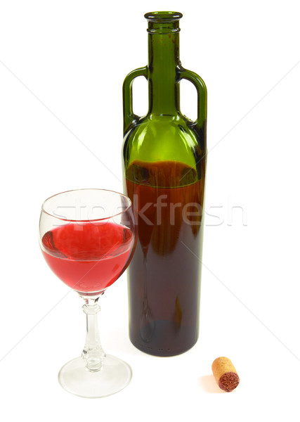 Red wine bottle, glass and stopper Stock photo © pzaxe