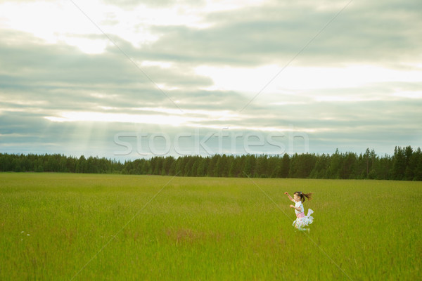 Little girl in dress runs on meadow Stock photo © pzaxe