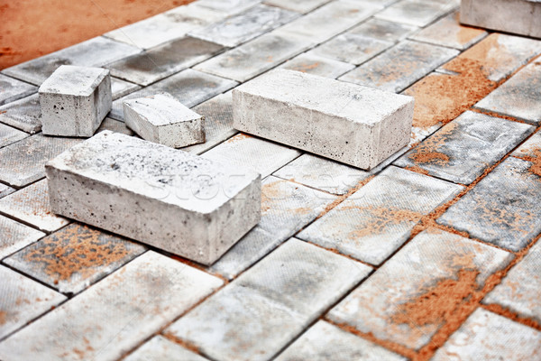 Under construction platform for bungalow from bricks Stock photo © pzaxe