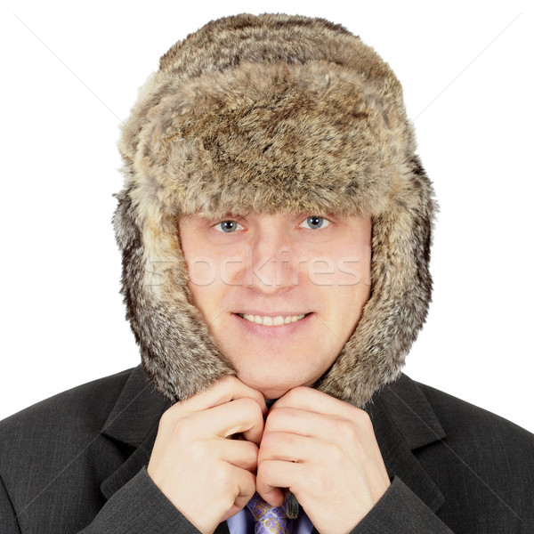 Russian businessman in fur hat on white background Stock photo © pzaxe