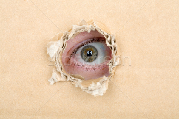 Eye looking from a hole in a cardboard Stock photo © pzaxe