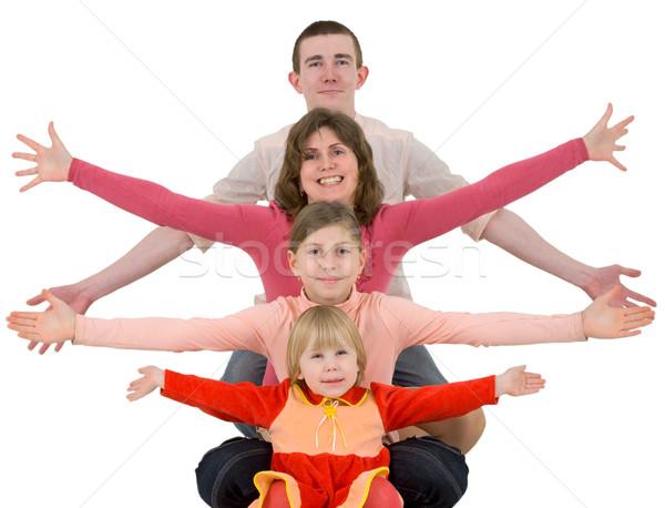 Aile çocuk beyaz kız gülümseme adam Stok fotoğraf © pzaxe