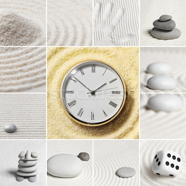 Collage - Japanese garden. Square. Watch. Stock photo © pzaxe