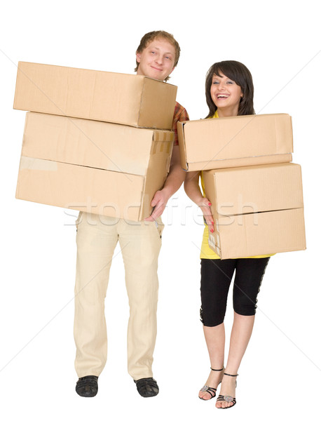 Woman and the man hold boxes Stock photo © pzaxe